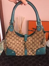 Authentic Vintage Gucci Bardot Hobo Bag in GG Canvas Turquoise As-Is