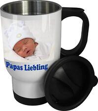 Thermobecher Kaffee, Trinkbecher Auto mit Fotodruck, Edelstahl-Trinkbecher-weiß