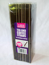 NEW 400 TEA COFFEE HOT COLD DRINK SIP STRAWS FOR DRINKING AND STIRRING BROWN