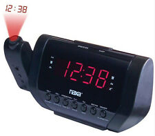 Naxa AM FM Dual Alarm Time Projection Clock Radio Preset Tuning Black New in Box