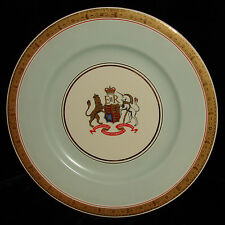 "QUEEN ELIZABETH II 1953 CORONATION CREST 10 1/2"" PLATE EXTREME GILT TURQUOISE"
