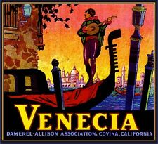 Covina Venecia Italy Venice Italian Orange Citrus Fruit Crate Label Art Print