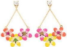 NEW Betsey Johnson Women Tricolor Flowers Crystal Gem Alloy Earrings BJEA060