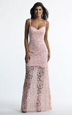 NWT PINK LACE DAVE AND JOHNNY PROM/PAGEANT/FORMAL DRESS/GOWN 10174 SIZE 0 2