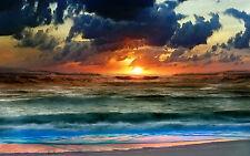 Lámina-Colorido Stormy Océano (Foto Afiche Playa Mar Wave arte con arena)