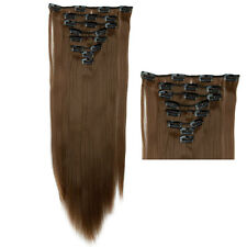 "26"" Light Brown 8Pcs 18Clips Clip In Hair Extensions Real Thick As Human Hair Ao"