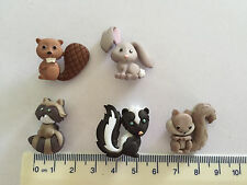 Grey rabbit brown beaver Black Skunk Raccoon Novelty Buttons by Dress It Up 8311