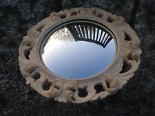 STUNNING VINTAGE FRENCH  IVORY ON GOLD BROCANTE ORNATE ROUND WALL MIRROR