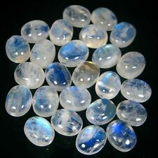 5 PIECES OF 8x6mm OVAL CABOCHON-CUT NATURAL INDIAN RAINBOW MOONSTONE GEMS