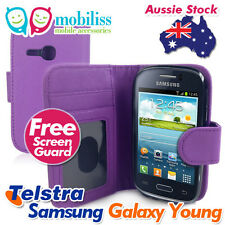 Telstra Samsung Galaxy Young S6310 Purple PU Leather TPU Inner Wallet Case Cover
