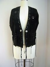 Patricia Wolf Texas Southwestern Black Suede Fringed Hand Painted Vest Size M