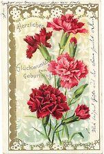 Geburstag, Blumen, Nelken, Prägekarte, 1905