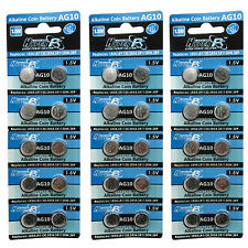30 pcs AG10 GP189 SR54 LR1130 L1131 1.5V Alkaline Button Cell Battery HyperPS