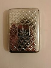 Metal Cigarrete Case ~ Cannabis Leaf Design ~ ~ ~ ~ ~ Engraved cigerette case.
