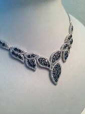 """RARE 112.34 NATURAL DEEP BLUE SAPPHIRE STERLING 925 SILVER NECKLACE18"""""""