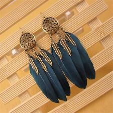Tribal Vintage Earrings Dream Catcher Leaf Feather Drop Dangle Long Jewelley