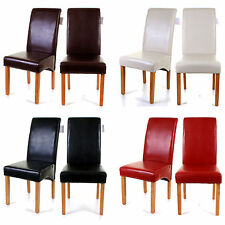 DINING CHAIRS FAUX LEATHER HIGH BACK WOODEN CHAIR LEGS FURNITURE SET RESTAURANTS