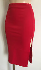 NEW MIDI TUBE STRETCHY PENCIL SKIRT WITH THIGH SPLIT SIZE 8 - 16