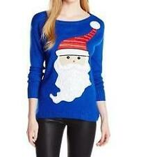 NEW Isabella's Closet Women's Santa Sparkle Embroidered Ugly Christmas Sweater L