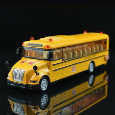 New 1:55 KDW Yellow School Bus toy Diecast metal Model pullback racers music