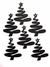10 Silhouette Swirling Christmas Tree Die Cuts, Black