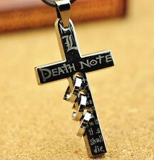 Anime Death Note Letter L Cross Metal Pendant Necklace Kids Toys Gifts Unisex