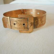 Victorian Gold-filled Buckle Bracelet Ornate Engraved Slide Adjustment AnB