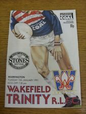 15/01/1991 Rugby League Programme: Wakefield Trinity v Warrington  . Condition: