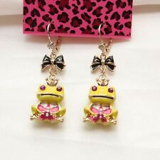 New Betsey Johnson Dangle Earrings Gift FS Fashion Gold Tone Enamel Frog Prince