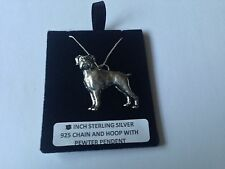 D8 Boxer dog on a 925 sterling silver Necklace Handmade 18 inch chain