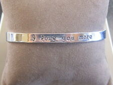 "Mantra Bangle Bracelet Silver Color ""I Love You More"" Jewelry Charm Meaning Cuff"
