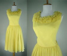 VINTAGE 1950s YELLOW DRESS CHIFFON AMAZING NECKLINE COCKTAIL PARTY DANCE S