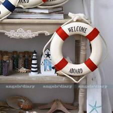 Red Lifering Lifebuoy Rope Welcome Nautical Decor Home Wall Hanging Decor 14CM