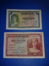 SPAIN LOTE 2 BILLETES 5 10 PESETAS REPUBLICA 1935 CIRCULADOS SIN SERIE