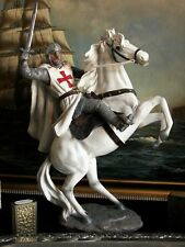 """Hand Painted Mounted Medieval Crusader Knight Figure Gift 33,5 cm/ 13.19"""""""