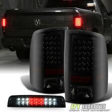 2009-2017 Dodge Ram 1500 2500 3500 Blk Smoke LED Tail Lights+LED 3rd Brake Lamp