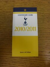 02/11/2010 Ticket: Tottenham Hotspur v AC Milan [Champions League] [Centenary Cl