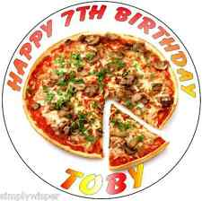 1 Novelty Pizza Design Theme Personalised Sugar Icing Cake Decoration Topper