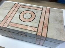 VINTAGE ART DECO MARBLE & BRASS HINGED TABLE BOX SUPERB CONDITION