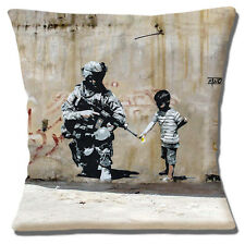 "Banksy Graffiti Artist Child Flower Soldier Grey Brow n 16"" Pillow Cushion Cover"