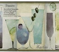 Martini Cocktails Kitchen Wallpaper Border Lilac Blue Norwall KB79703