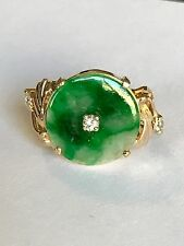 Estate Green Jade And Diamonds In 18k Gold Ring