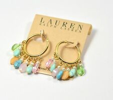 Lauren Ralph Lauren Hoop Earrings Semi Precious Stone Accents Crystal Pearl