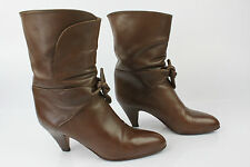 VINTAGE Bottines FARINA Tout Cuir Marron T 36,5 BE