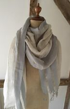 100% LINEN SCARF/SHAWL/WRAP IN NATURAL WITH DUCK EGG BLUE STRIPE.