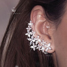 18k white gold SWAROVSKI crystal blossom stud asymmetrical earrings 925 silver