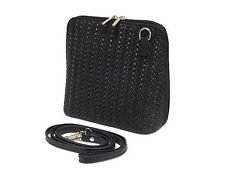 A-SHU SMALL BLACK REAL / GENUINE LEATHER WOVEN BAG WITH LONG SHOULDER STRAP