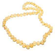 Genuine Raw Baltic Amber Beads Necklace for Adult Light Honey 45 - 46 cm