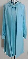 Vintage 1960's Textured 2 Piece Dress Vest Suit Accordion Pleats Aqua Size 10