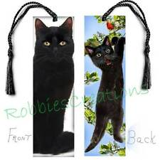 FUN BLACK CAT Large BOOKMARK TASSEL Kitten Art Book Mark CARD figurine Ornament